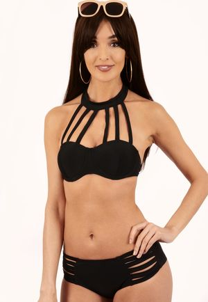 Eden Black High Neck Detail Bikini