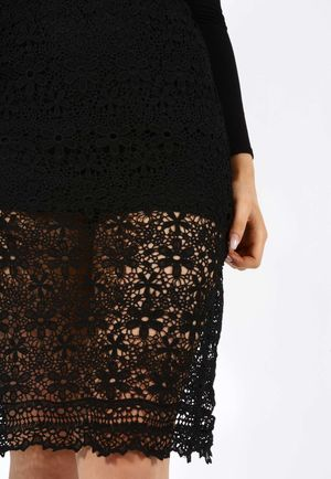 Sam Lace Bodycon Midi Skirt Black