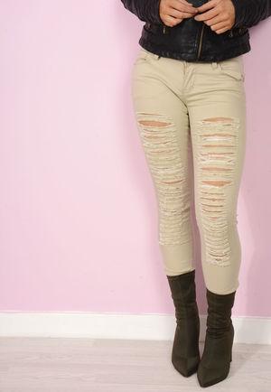 Kylie Beige Multi Rip Skinny Jeans