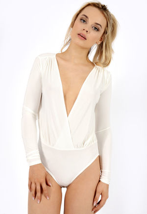 Kesha Off White Wrap Over Bodysuit