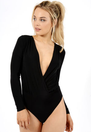 Alyssa Black Wrap Over Bodysuit