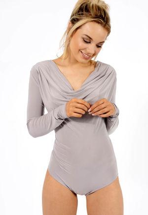 Paige Grey Cowl Neck Bodysuit