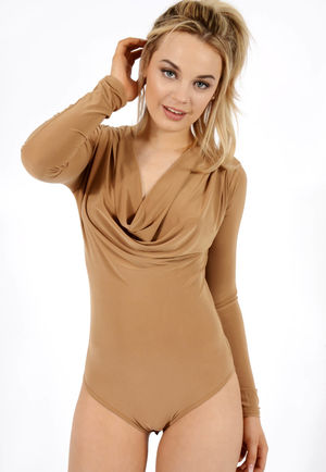 Cowl Neck Bodysuit Camel