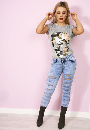 Harper Stone Wash Multi Rip High Waisted Jeans