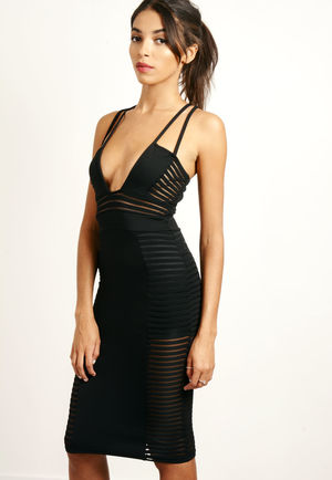 Mesh Panel Plunge Bodycon Dress