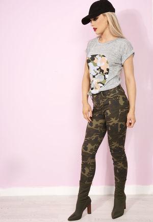 Gracey Camo Khaki Jeans