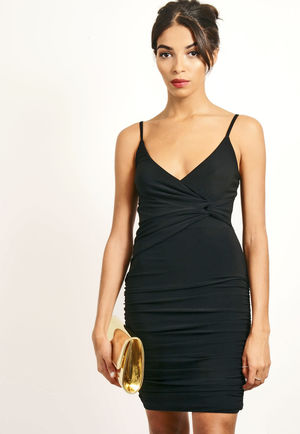 Knot Ruched Wrap Over Mini Dress Black
