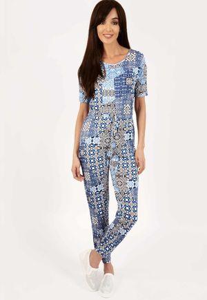 Tarah Blue Paisley Print Jumpsuit