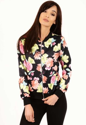 Billie Black Floral Bomber Jacket