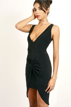 Slinky Thigh Split Dress Black