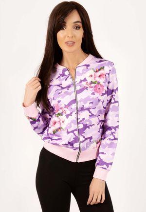 Erin Pink Floral Camo Bomber Jacket