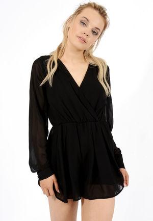 Wrap Over Playsuit Black