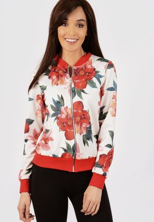 Billie Red Floral Bomber Jacket