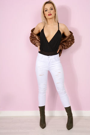 Avril White Multi Rip High Waisted Jeans