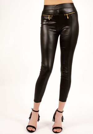 Jilly Black PU High Waisted Trousers
