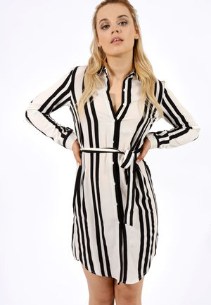 Jemma Black & White Stripe Shirt Dress