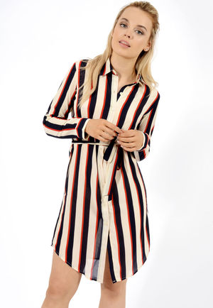 Elanor Navy Nude Stripe Belted Shirt Dress