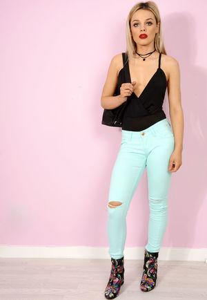 Sarae Mint Rip Knee Super Soft Skinny Jeans