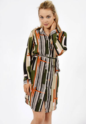 Jemma Abstract Khaki Belted Shirt Dress