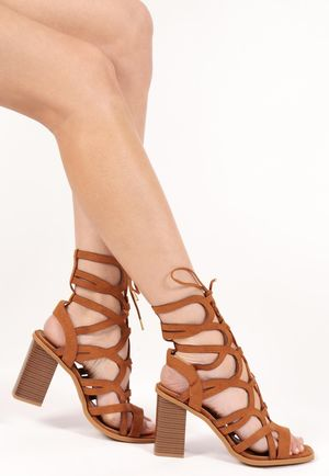 Fern Tan Faux Suede Lace Up Gladiators