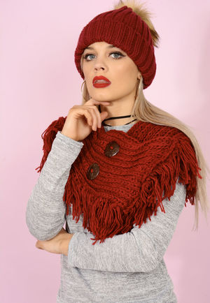 Knitted Button Detail Snood Wine