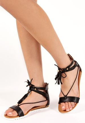 Lornah Black PU Tie Up Sandals
