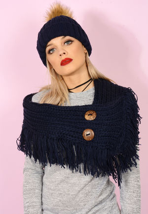 Knitted Button Detail Snood Black