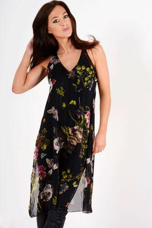 Jorgie Black Floral Side Split Tunic Top