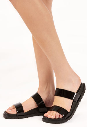 Sofia Black Patent Double Strap Sandals