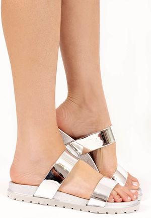 Sofia Silver Patent Double Strap Sandals