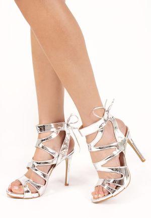 Adeline Silver Tie Up Heels