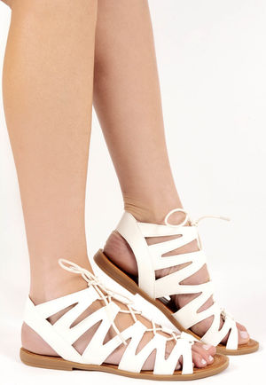 Mica White Cut Out Gladiator Sandals