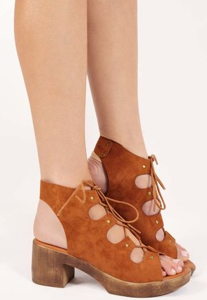 Dale Tan Cut Out Lace Up Sandals