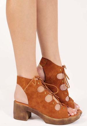 Dale Tan Cut Out Lace Up Sandals