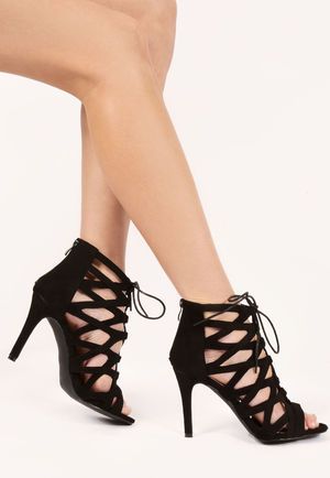 Macey Black Faux Suede Lace Up Heels