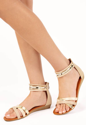 Bayli Nude Strappy Gladiator Sandals