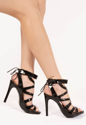 Adeline Black Tie Up Heels