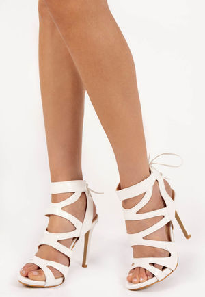 Adeline White Tie Up Heels