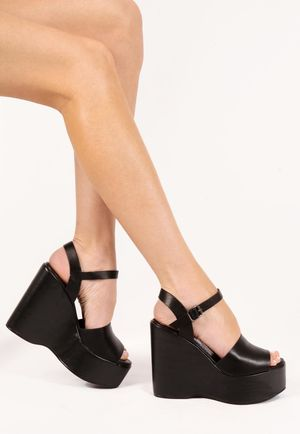 Frankie Black PU Wedges