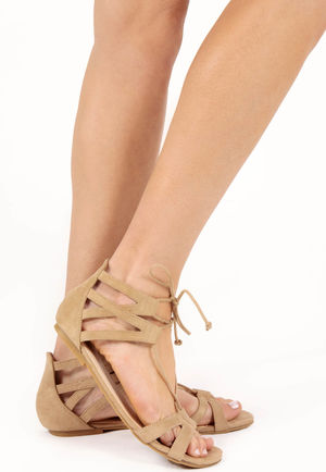 Cia Beige Strappy Gladiator Sandals