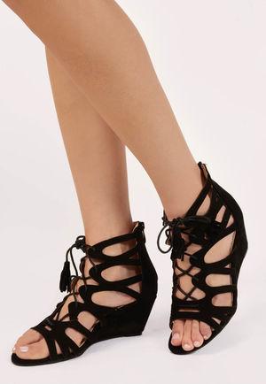 Moni Black Faux Suede Lace Up Sandals