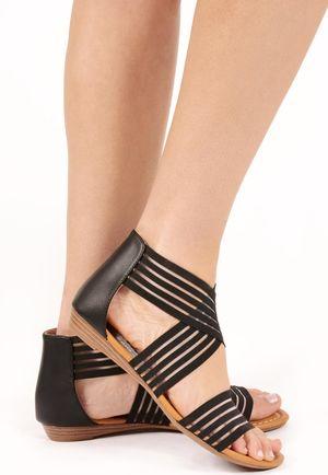 Drew Black Slip On Sandal