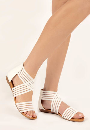 Drew White Slip On Sandal