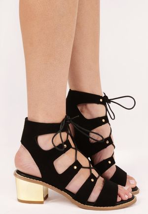 Shea Black Cut Out Lace Up Sandals