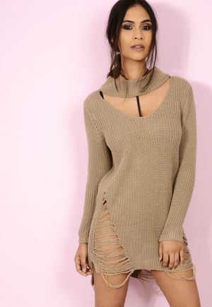 Choker Distressed Knitt Camel