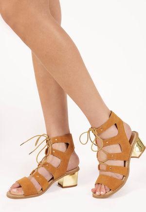 Diane Camel Cut Out Lace Up Sandals