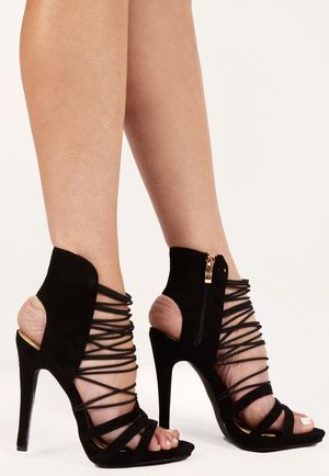 Ednia Black Zip Up High Heels