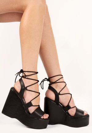 Talia Lace Up Black PU Wedges