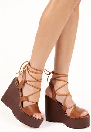 Talia Lace Up Tan PU Wedges