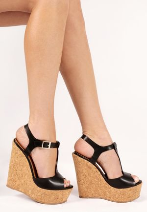 Gabrielle Black Cork Wedges
